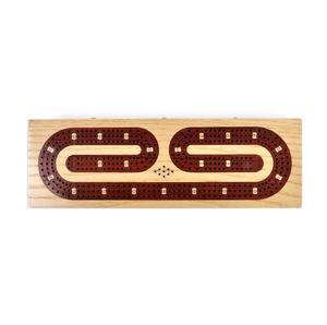 Luxury 3 Track Red / White Topped Wooden Cribbage Board with Drawers, 2 Decks and Metal Pegs 1573R Thumbnail 5