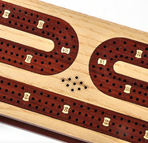 Luxury 3 Track Red / White Topped Wooden Cribbage Board with Drawers, 2 Decks and Metal Pegs 1573R Thumbnail 6