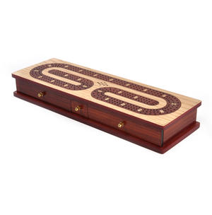 Luxury 3 Track Red / White Topped Wooden Cribbage Board with Drawers, 2 Decks and Metal Pegs 1573R Thumbnail 8