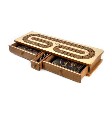 Luxury 3 Track White Topped Wooden Cribbage Board with Drawers, 2 Decks and Metal Pegs 1573W