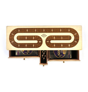 Luxury 3 Track White Topped Wooden Cribbage Board with Drawers, 2 Decks and Metal Pegs 1573W Thumbnail 3