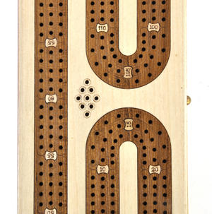 Luxury 3 Track White Topped Wooden Cribbage Board with Drawers, 2 Decks and Metal Pegs 1573W Thumbnail 5