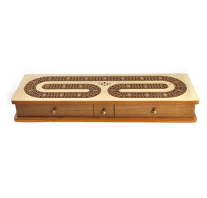 Luxury 3 Track White Topped Wooden Cribbage Board with Drawers, 2 Decks and Metal Pegs 1573W Thumbnail 7