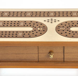 Luxury 3 Track White Topped Wooden Cribbage Board with Drawers, 2 Decks and Metal Pegs 1573W Thumbnail 8