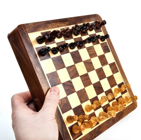 "Deluxe Wooden Magnetic Travel Chess - 10"" / 26cm Square with Travel Bag"