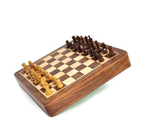 "Deluxe Wooden Magnetic Travel Chess - 10"" / 26cm Square with Travel Bag Thumbnail 2"