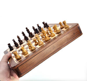 "Deluxe Wooden Magnetic Travel Chess - 10"" / 26cm Square with Travel Bag Thumbnail 3"