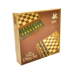 "Deluxe Wooden Magnetic Travel Chess - 10"" / 26cm Square with Travel Bag Thumbnail 5"