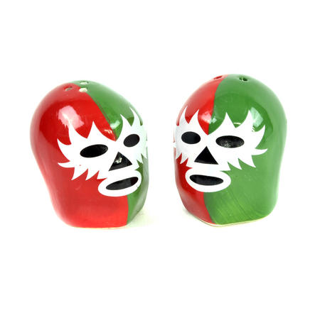 Dos Luchadores Mexican Wrestlers Salt & Pepper Shakers