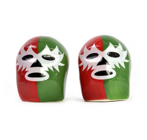 Dos Luchadores Mexican Wrestlers Salt & Pepper Shakers Thumbnail 3