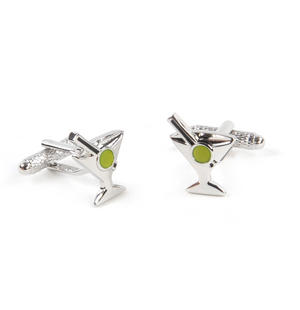 Cufflinks - Vodka Martini Cocktail with a Green Olive - Shaken not Stirred Thumbnail 1