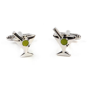 Cufflinks - Vodka Martini Cocktail with a Green Olive - Shaken not Stirred Thumbnail 3