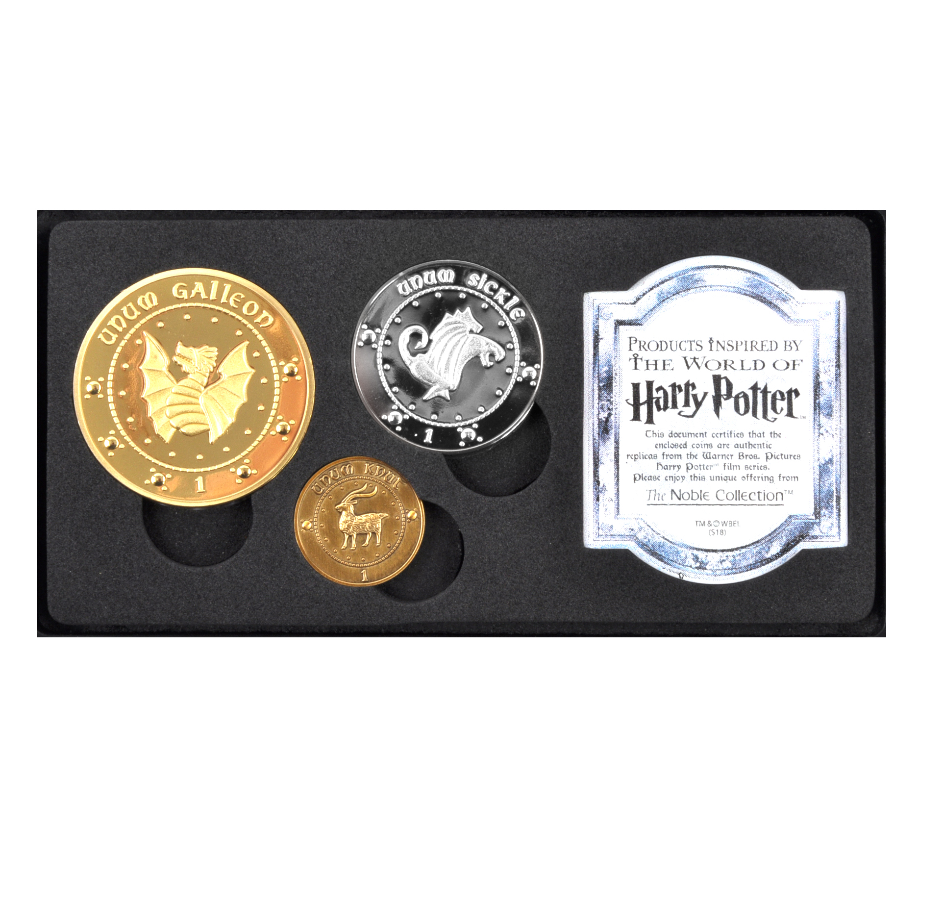 Harry Potter Gringotts Bank Replica Coin Collection - Unum Galleon, Sickle  and Knut Coins - Noble Collection