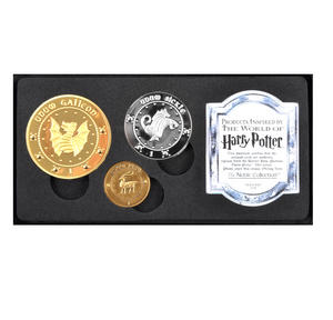 Harry Potter Gringotts Bank Replica Coin Collection - Unum Galleon, Sickle and Knut Coins - Noble Collection Thumbnail 1