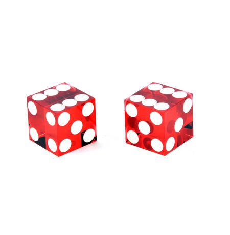 Pair of 19mm Red Non-Precision Casino Craps Dice - Plastic Injection Moulded for Randomness - 5041
