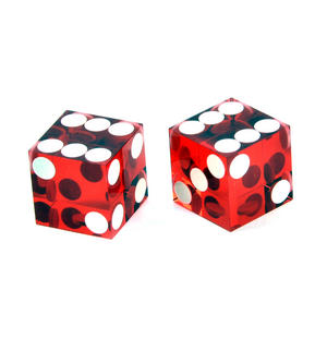 Pair of 19mm Red Non-Precision Casino Craps Dice - Plastic Injection Moulded for Randomness - 5041 Thumbnail 2