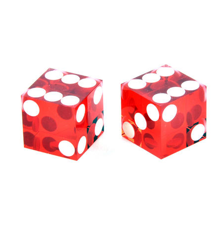 Pair of 19mm Red Precision Casino / Craps Dice - Drilled Pips for Randomness - 5042