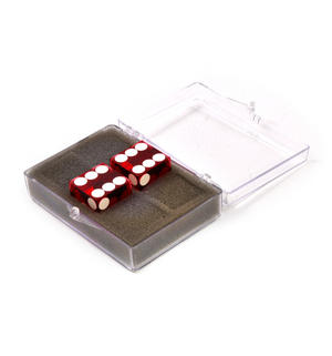 Pair of 19mm Red Precision Casino / Craps Dice - Drilled Pips for Randomness - 5042 Thumbnail 2