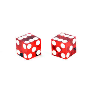 Pair of 19mm Red Precision Casino / Craps Dice - Drilled Pips for Randomness - 5042 Thumbnail 3