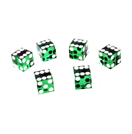 19mm Green Non-Precision Casino / Craps Dice - Set of 6 - Plastic Injection Moulded for Randomness - 5043