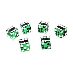 19mm Green Non-Precision Casino / Craps Dice - Set of 6 - Plastic Injection Moulded for Randomness - 5043 Thumbnail 1