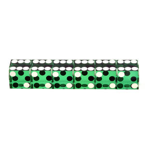 19mm Green Non-Precision Casino / Craps Dice - Set of 6 - Plastic Injection Moulded for Randomness - 5043 Thumbnail 2