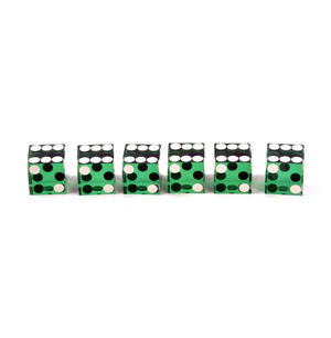 19mm Green Non-Precision Casino / Craps Dice - Set of 6 - Plastic Injection Moulded for Randomness - 5043 Thumbnail 3