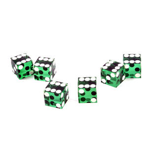 19mm Green Non-Precision Casino / Craps Dice - Set of 6 - Plastic Injection Moulded for Randomness - 5043 Thumbnail 4