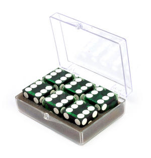 19mm Green Non-Precision Casino / Craps Dice - Set of 6 - Plastic Injection Moulded for Randomness - 5043 Thumbnail 5