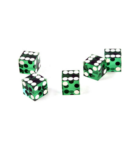 19mm Green Non-Precision Casino / Craps Dice - Set of 5 - Plastic Injection Moulded for Randomness - 5045