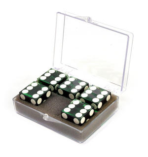19mm Green Non-Precision Casino / Craps Dice - Set of 5 - Plastic Injection Moulded for Randomness - 5045 Thumbnail 2