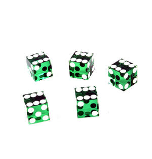 19mm Green Non-Precision Casino / Craps Dice - Set of 5 - Plastic Injection Moulded for Randomness - 5045 Thumbnail 3