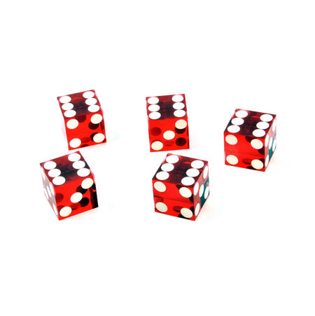 19mm Red Non-Precision Casino / Craps Dice - Set of 5 - Plastic Injection Moulded for Randomness - 5046