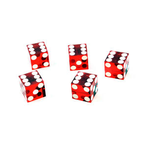 19mm Red Non-Precision Casino / Craps Dice - Set of 5 - Plastic Injection Moulded for Randomness - 5046 Thumbnail 1