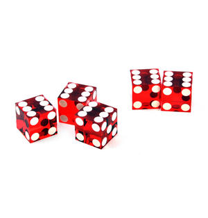 19mm Red Non-Precision Casino / Craps Dice - Set of 5 - Plastic Injection Moulded for Randomness - 5046 Thumbnail 3