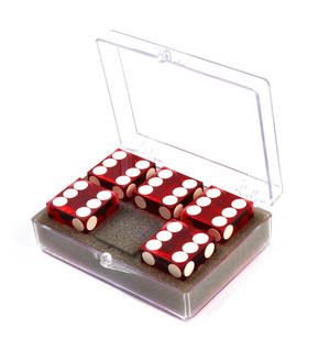 19mm Red Non-Precision Casino / Craps Dice - Set of 5 - Plastic Injection Moulded for Randomness - 5046 Thumbnail 4