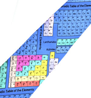 Multi-Coloured Periodic Table Neck Tie for Physicists, Chemists and Lab Technicians Thumbnail 3