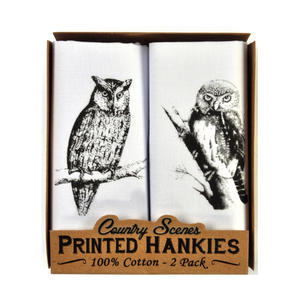 Owl - 2 Pack - Country Sports Scenes Printed Handkerchiefs