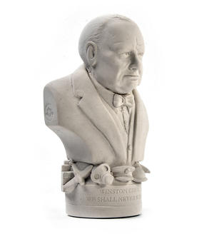 Winston Churchill Statuette - Famous Faces Collection Plaster Bust Thumbnail 2