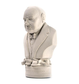 Winston Churchill Statuette - Famous Faces Collection Plaster Bust Thumbnail 3