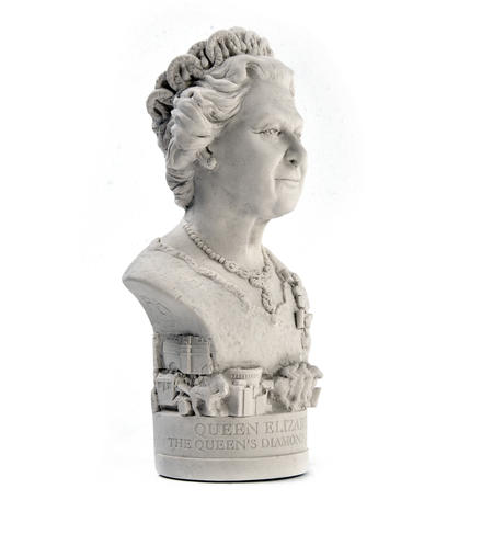 Queen Elizabeth ll Statuette - Famous Faces Collection Plaster Bust