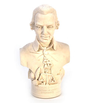 Adam Smith Statuette - Famous Faces Collection Plaster Bust Thumbnail 1