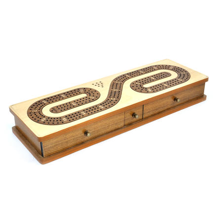 Luxury 3 Track  'S' Shaped Brown on White  Wooden Cribbage Board with Drawers, 2 Decks and Metal Pegs 1573