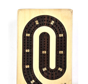 Luxury 3 Track  'S' Shaped Brown on White  Wooden Cribbage Board with Drawers, 2 Decks and Metal Pegs 1573 Thumbnail 3