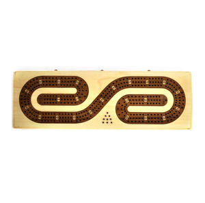 Luxury 3 Track  'S' Shaped Brown on White  Wooden Cribbage Board with Drawers, 2 Decks and Metal Pegs 1573 Thumbnail 4