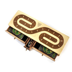 Luxury 3 Track  'S' Shaped Brown on White  Wooden Cribbage Board with Drawers, 2 Decks and Metal Pegs 1573 Thumbnail 5
