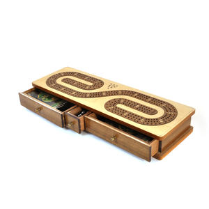 Luxury 3 Track  'S' Shaped Brown on White  Wooden Cribbage Board with Drawers, 2 Decks and Metal Pegs 1573 Thumbnail 6