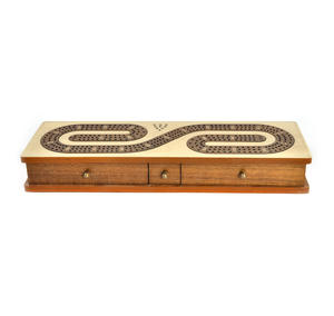 Luxury 3 Track  'S' Shaped Brown on White  Wooden Cribbage Board with Drawers, 2 Decks and Metal Pegs 1573 Thumbnail 7