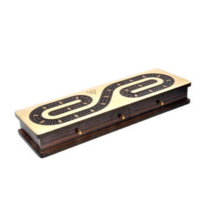 Luxury 3 Track  'S' Shaped Brown on White  Wooden Cribbage Board with Drawers, 2 Decks and Metal Pegs 1573 Thumbnail 8