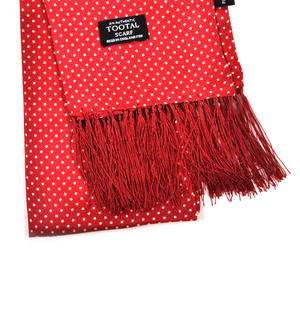 White Pin Dot on Red Fringed Scarf - 100% Silk Scarf from Vintage Tootal Thumbnail 2